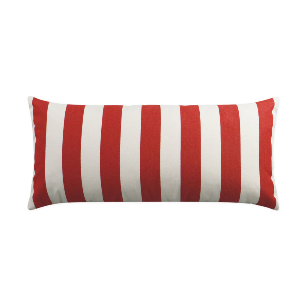 Café Stripe Lumbar Pillow in Red
