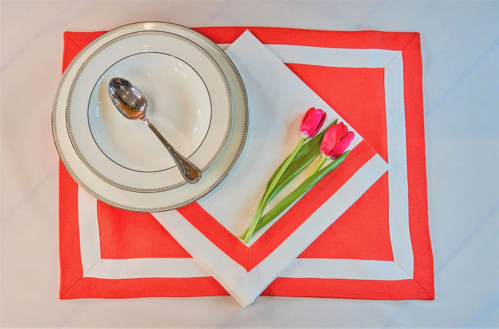 Inset Band Placemat Set in Apple Red