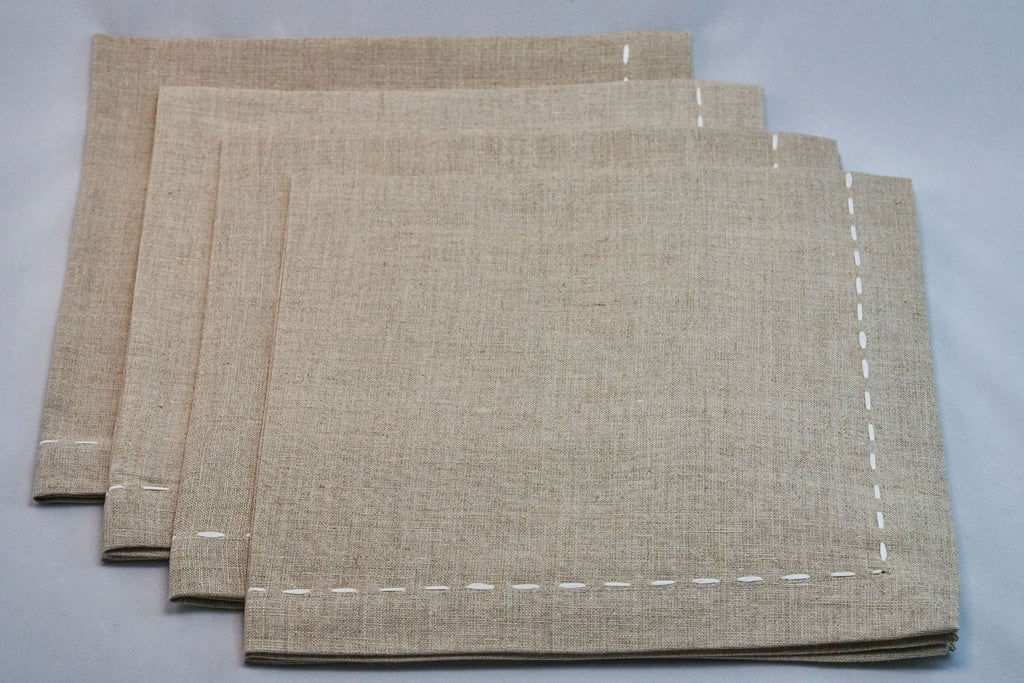 Saddlestitch Napkin Set in Natural & White