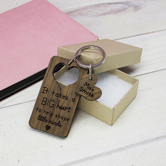 Big Heart Personalised Teacher Keyring - Smiley Moments