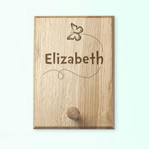 Butterfly Personalised Wooden Peg Hook - Smiley Moments