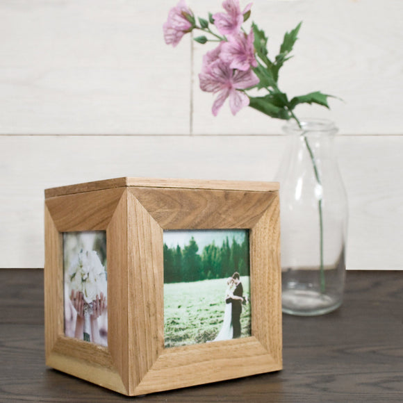 Cute Personalised Oak Photo Cube - Smiley Moments