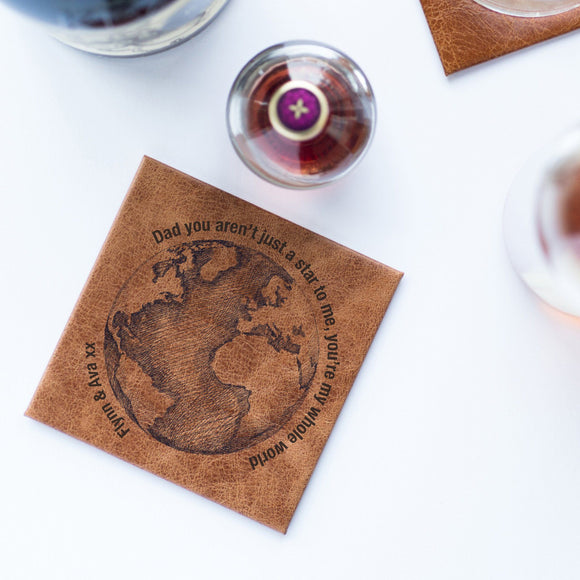 Dad's Luxury Leather 'You are my World' Coaster - Smiley Moments