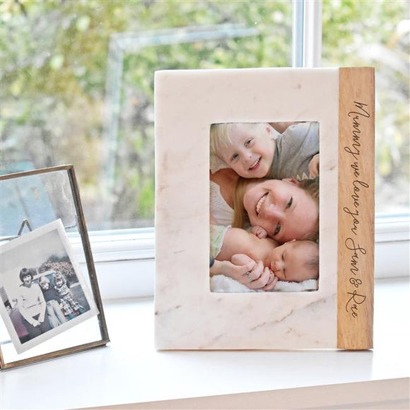 Elegant Personalised Marble Photo Frame - Smiley Moments