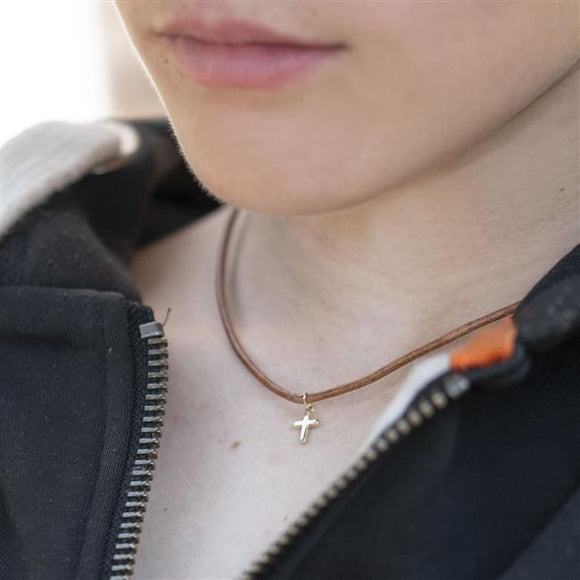 Leather Gold Cross Necklace | Smiley Moments