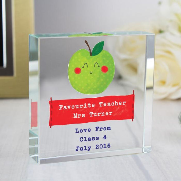 Happy Apple For Teacher Large Glass Token - Smiley Moments