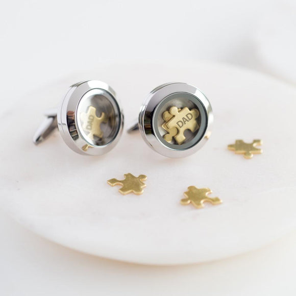 'I Love You To Pieces' Dad Cufflinks With Personalised Gift Box - Smiley Moments