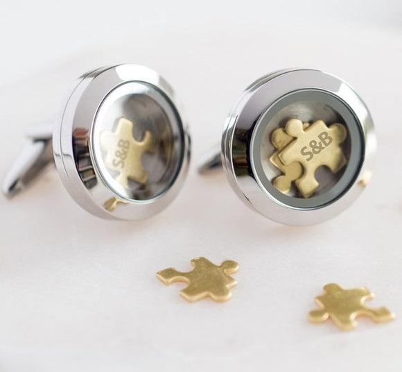 Love You To Pieces Personalised Cufflinks - Smiley Moments