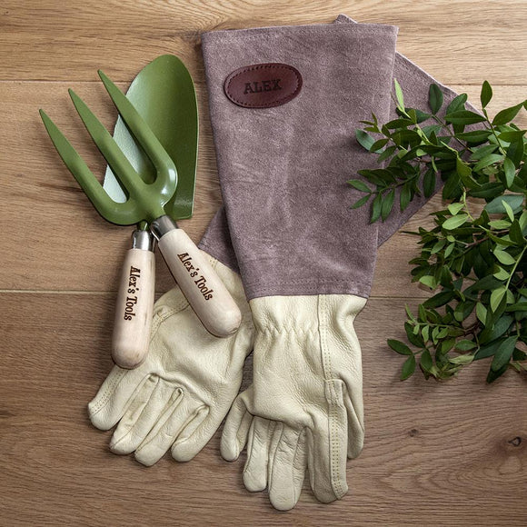 Luxury Personalised Brown Leather Gardening Gloves - Smiley Moments
