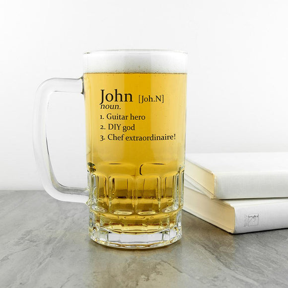 Personalised Definition Beer Glass Tankard - Smiley Moments