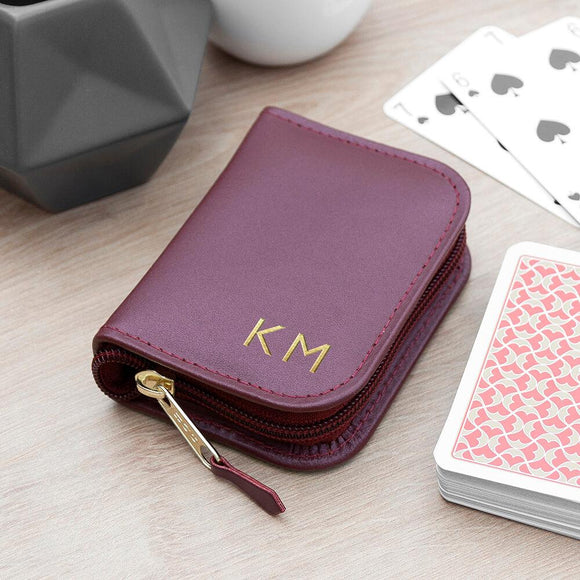 Personalised Leather Playing Card Case With Playing Cards - Smiley Moments