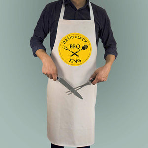 Personalised Men's Apron With BBQ King Design In Red Or Yellow - Smiley Moments