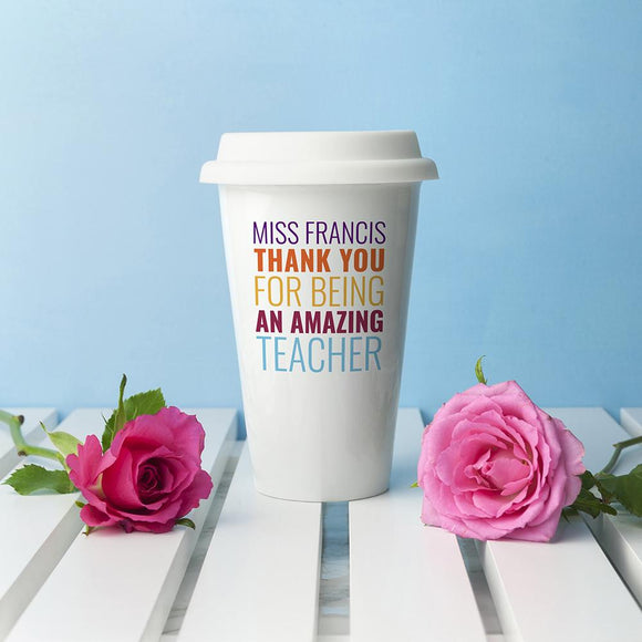 Personalised My Amazing Teacher Travel Mug - Smiley Moments