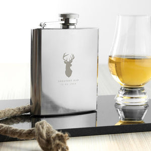 Personalised Stag 6oz Hip Flask - Smiley Moments