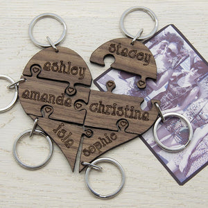 Pretty Bridesmaids' Heart Shaped Keyring - Smiley Moments