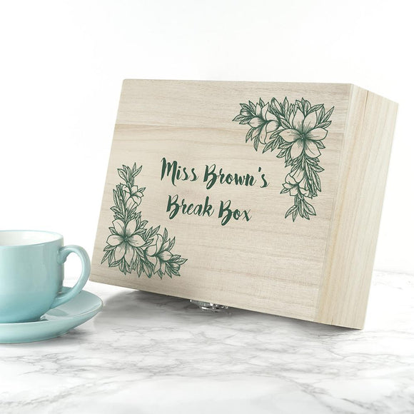 Pretty Floral Personalised Tea Box for Teacher - Smiley Moments