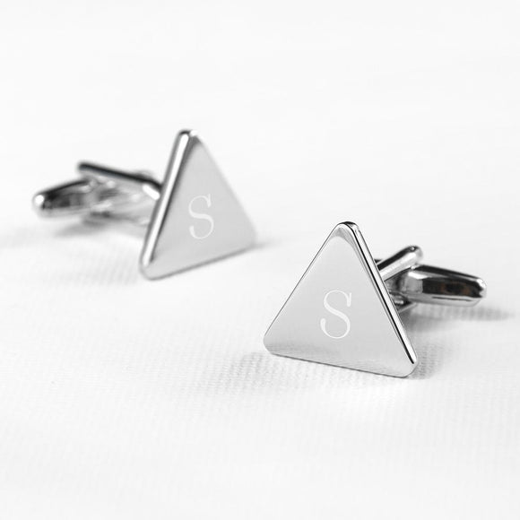 Smart Triangle Rhodium Plated Cufflinks - Smiley Moments