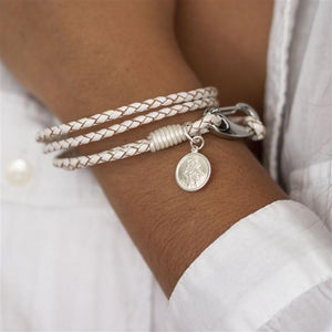 St Christopher White Leather Bracelet In Personalised Gift Box - Smiley Moments