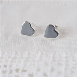 Sweet Silver Heart Studs - Smiley Moments