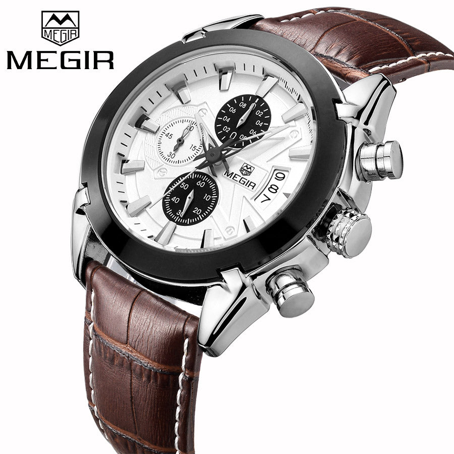 MEGIR Luxury Brand Military Watches Men Quartz  Chronograph 6 Hands Leather Clock Man Sports Army Wrist Watch Relogios Masculino