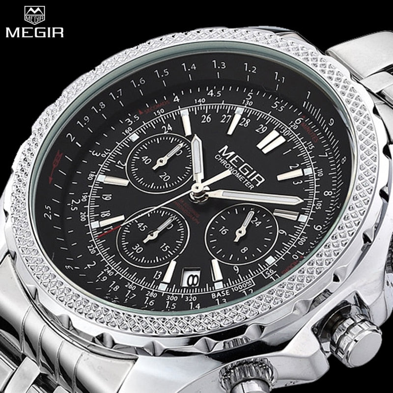 Men 24 Hours System Watches Brand MEGIR Watches Men Fashion Casual Clock Full Steel Analog Quartz Chronograph Wristwatches