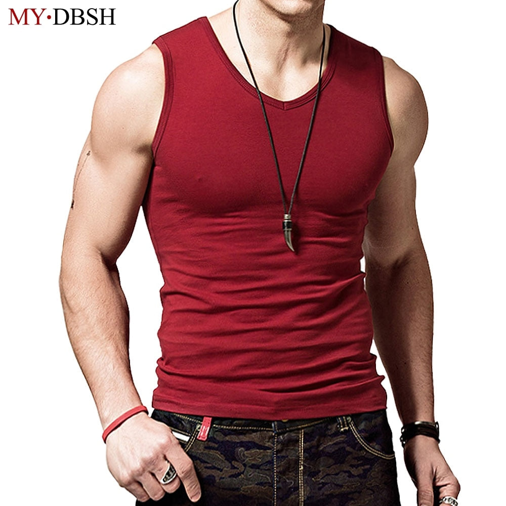 100% Cotton Big Size Summer Men's Clothing Tank Tops Solid Color Singlets Sleeveless Fitness Mens Vest Bodybuilding t shirt