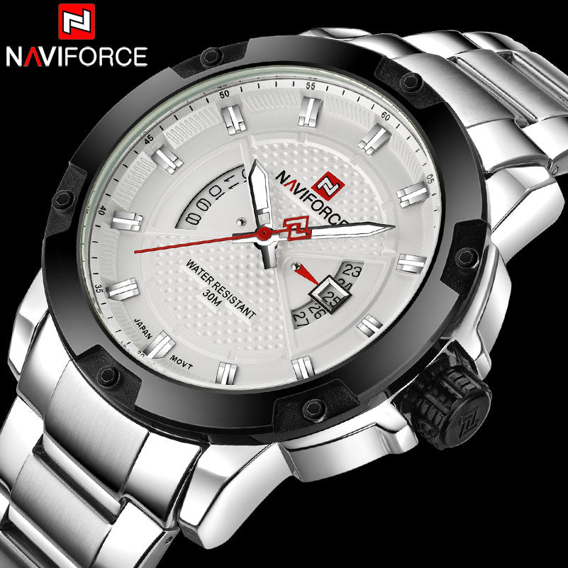 NAVIFORCE Men Watches Luxury Sport Quartz Watches Silver Business Steel Watch 30M Waterproof Auto Date Wristwatches Reloj Hombre