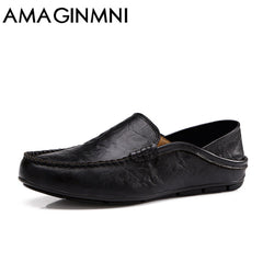 AMAGINMNI big size 35-47 slip on casual men loafers spring and autumn mens moccasins shoes genuine leather men's flats shoes New