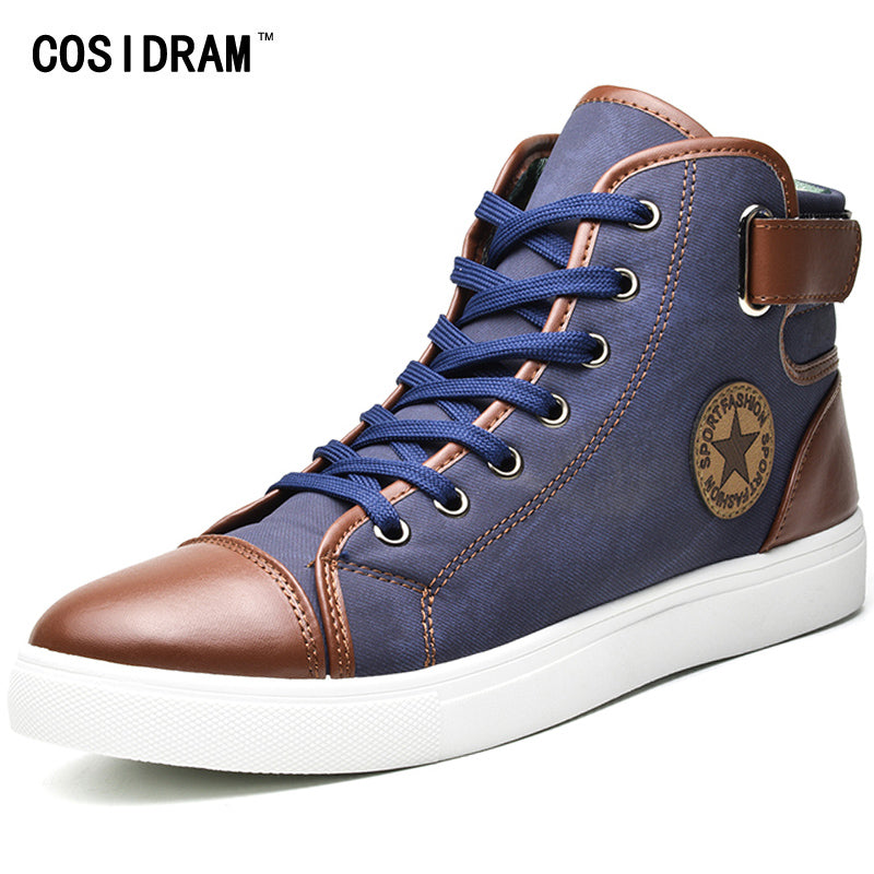 COSIDRAM Fashion High Top Men Shoes Canvas Men Casual Shoes For Autumn Winter Male Footwear Patchwork Plus Size 45 46 47 RMC-165