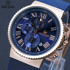 MEGIR Sport Watch Men Accurate Travel Time Chronograph Gold Dial Blue Silicone Band Men Quartz Watches erkek kol saati /MG3007-5