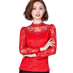 Femininas Blusas 2018 Women Blouses Spring Autumn Fashion Sexy Slim Shirt Tops Lace Long Sleeve O-Neck Leisure Black/White S-5XL