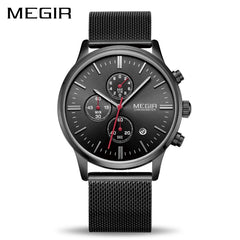 MEGIR Watch Men Stainless Steel Quartz Men Watches Chronograph Watch Clock Men Relogio Masculino for Male Students Relogios
