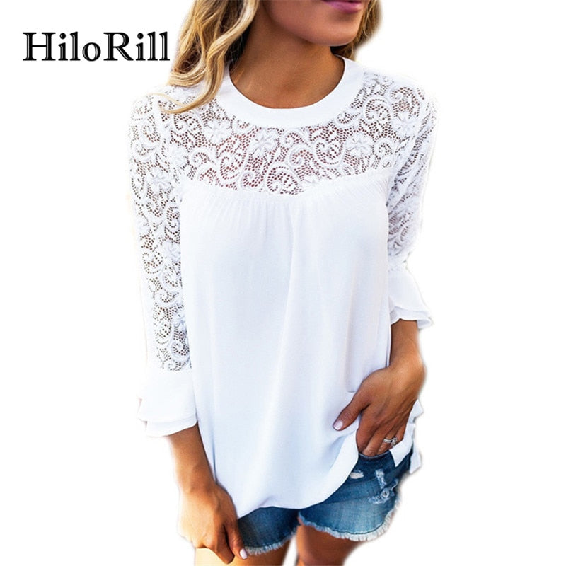 HiloRill 2018 New Fashion Women Blouse Casual Flare Sleeve Lace Patchwork Chiffon Shirt Lace Crochet Top Tunic Blusas Mujer XL