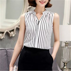 2018 White Chiffon Sleeveless Summer Womens Tops and Blouses Shirts Casual feminine Blouse For Woman V Neck Blusas Feminina #B8