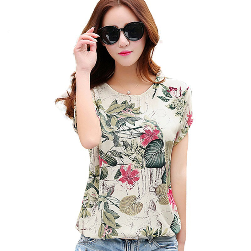 Floral Print Women's Blouses ladies Shirts Summer Tops Casual Plus Size blouse shirt fashion korean 2016 new blusas female