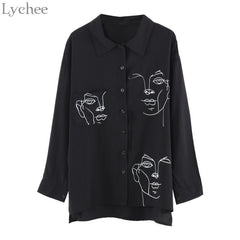 Lychee Spring Autumn Women Blouse Face Print Casual Loose Long Sleeve Shirt Vintage Brlusa Tops