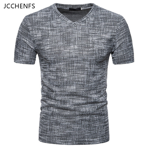 JCCHENFS 2018 Summer Fashion Brand Men's T-Shirts Cotton Linen Short Sleeve Blouse Casual V-neck Large Size T Shirt For Men