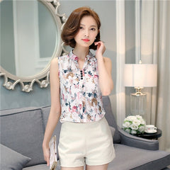 Women Blouses And Shirts 2018 Summer Korean Elegant Sleeveless Flower/Butterfly/Plaid Print Shirt Ladies Tops Female Clothing