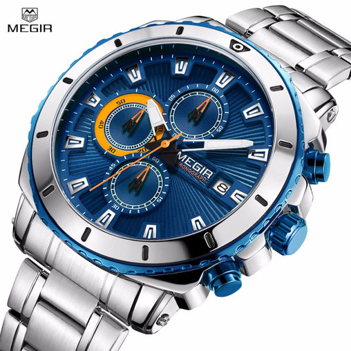 Megir Men's Stainless Steel Quartz Watches Chronograph Analgue Wristwatch For Man Waterproof Luminous Clock Relogio Masculino