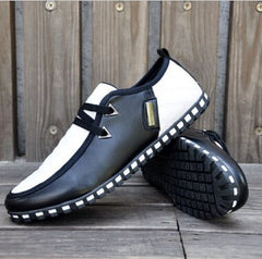 GOXPACER Autumn And Winter Fashion New Men Shoes Casual Shoes Men Flats Shoes Men Lacing Cotton Padded Flats PU Plus Size