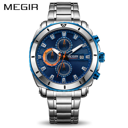 MEGIR Chronograph Quartz Men Watch Luxury Brand Stainless Steel Business Wrist Watches Men Clock Hour Time Relogio Masculino