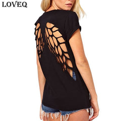 2018 New Summer Fashion Casual T Shirt Women Laser Angel Wings Backless T Shirt Ladies Clothes O-Neck T-Shirt Tops Plus Size