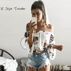 Sexy off Shoulder Flower Print Cotton Blouse Women Flare Sleeves Cropped Shirt Casual Rustic Summer Style Crop Top Boho Tee New