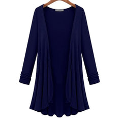 2018 NEW Women Fashion Cotton Top Thin Blouse Long Sleeve Summer Cardigan Sweater Coat Big Size Flounce Plus Size