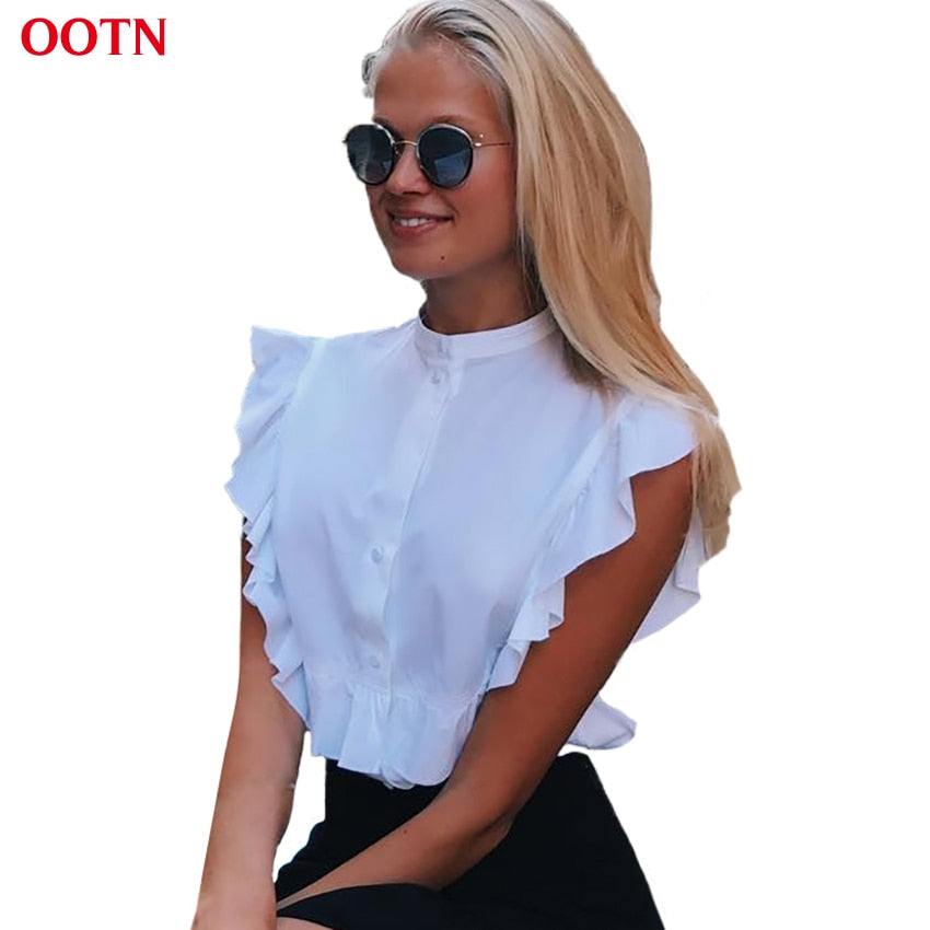 OOTN 2018 Summer Sleeveless White Tunic Blouses Women Ruffled Crop Tops Female Short Shirts Ladies Office Chemise Femme Fashion