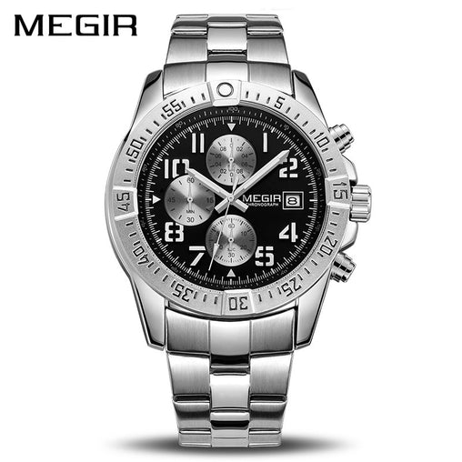 MEGIR Business Men Watch Luxury Brand Stainless Steel Wrist Watch Chronograph Army Military Quartz Watches Relogio Masculino