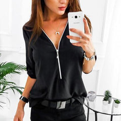 Zipper Short Sleeve Women Shirts Sexy V Neck Solid Womens Tops And Blouses Casual Tee Shirts Tops Female Clothes Plus Size 5XL