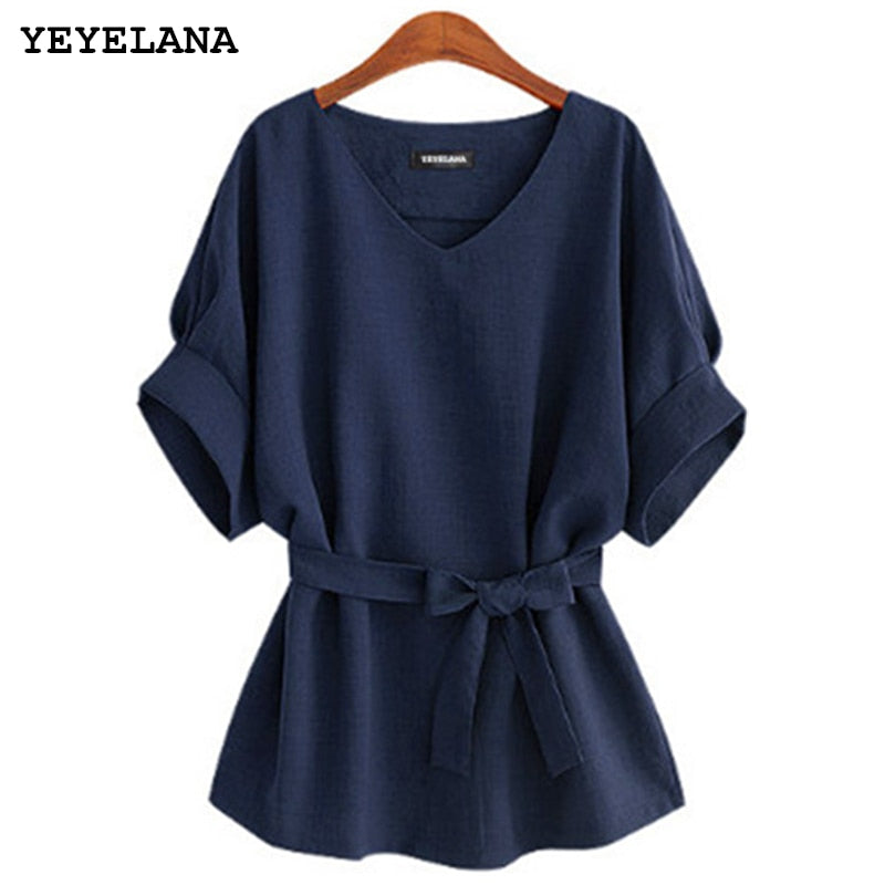 YEYELANA 2018 Summer Women Blouses Linen Tunic Shirt V Neck Big Bow Batwing Tie Loose Ladies Blouse Female Top For Tops A073