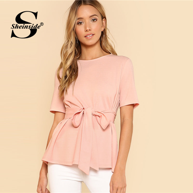 Sheinside Self Belt Keyhole Back Blouse Solid Short Sleeve Top 2018 Summer Women Office Ladies Work Elegant Blouse