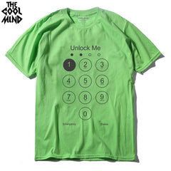 COOLMIND FU0117A Summer Design Funny Unlock Men T shirt Phone Screen Top Tee Shirts 100% Cotton Men's Tshirt summer cool t-shirt